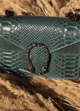 Сумка кожаная смарагд изумруд vera pelle зеленая клатч кроссбоди италия в стиле gucci