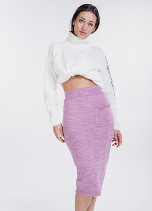 Женская юбка-карандаш вязаная с карманчиком