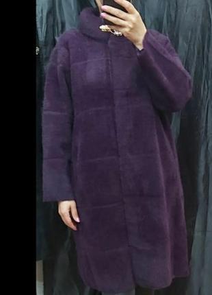 Шикарное пальто с альпаки, размер универсальный.