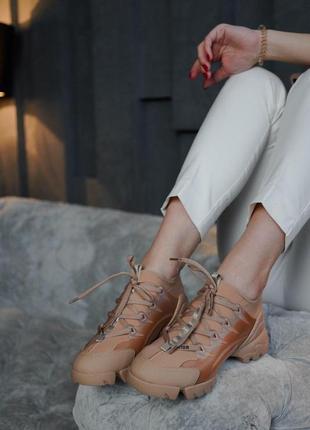 👟 кроссовки женские dior натуральная кожа / наложенный платёж bs👟
