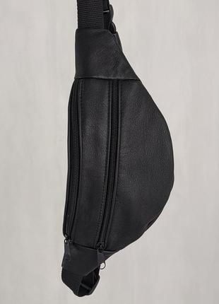Качественная стильная бананка натуральная кожа, сумка на пояс черная матовая кожа б20
