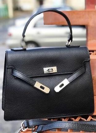 Кожаная милая сумка сумочка в стиле hermès kelly, натуральная кожа италия
