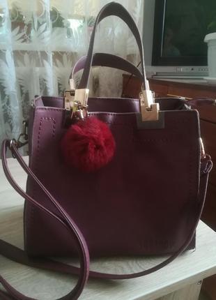 Продам сумку марсалового цвета