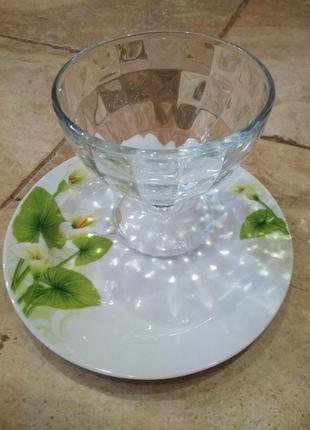 Креманница салатница с тарелкой стекло  фарфор*interos*