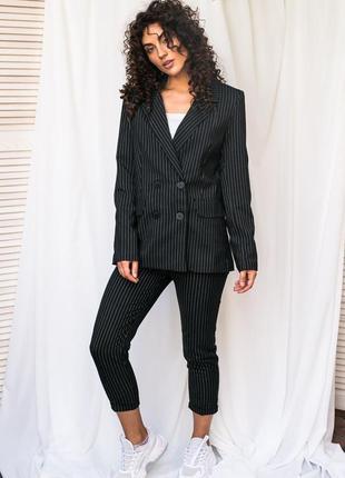 Актуальный костюм в полоску пиджак и брюки чёрного цвета ❀