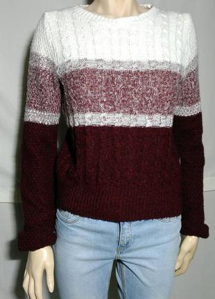 Стильный укороченный свитер вязаный омбре бордо марсала белый