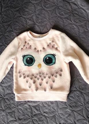 Мягкий свитер hm сова паетки