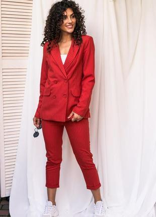 Актуальный костюм в полоску пиджак и брюки красного цвета ❀