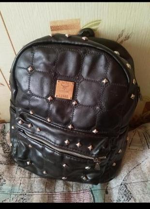 Еко кожаный рюкзак портфель рюкзачок с шипами заклёпками длинные ручки
