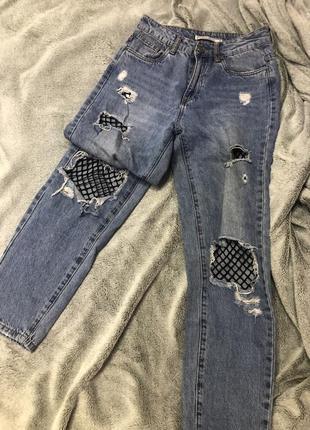 Джинсы с сеткой штаны