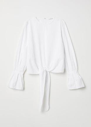 Женская белая блузка с узлом h&m, р. 42 евро - 48 наш