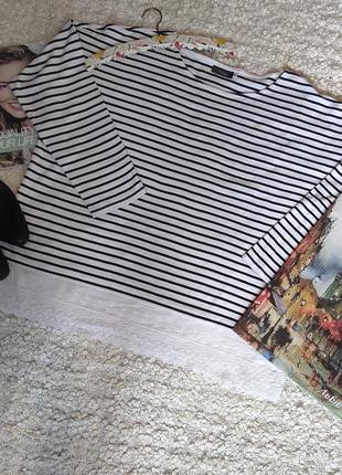 Нарядная кофточка оверсайз,котоновая блузка в полоску с кружевом