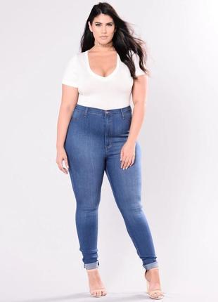 Голубые светлые синие джинсы супер стрейч скинни джеггинсы высокая талия посадка батал