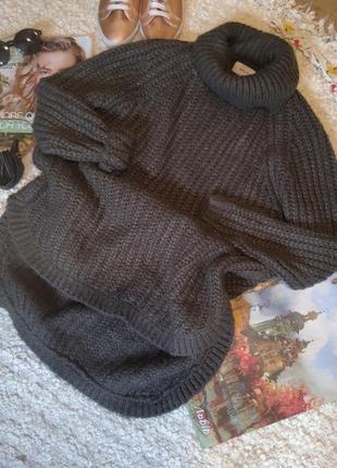 Длинный пуловер оверсайз