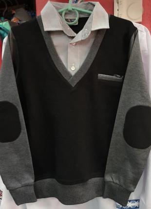 Джемпер с рубашкой обманкой