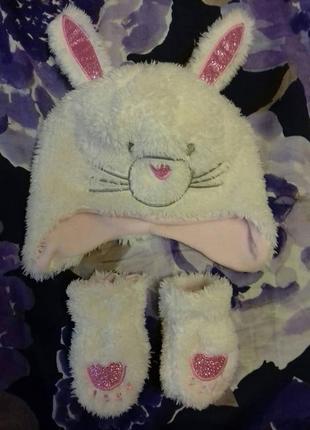 Primark оригинал набор шапка и перчатки на девочку  годик или два