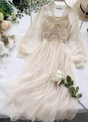Гипюровое платье в горошек с кружевом в расцветках