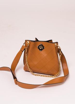 Женская сумка с плечевым ремнем светло-коричневого цвета ❀