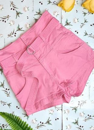 🎁1+1=3 шикарные розовые джинсовые короткие шорты высокая посадка h&m, размер 44 - 46