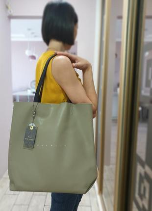 Стильная жеская кожаная сумка шоппер polina&eiterou