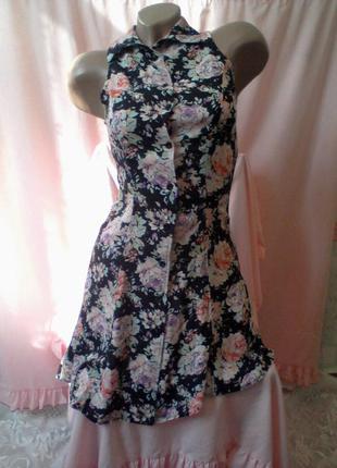 Летнее платье халатик с воротником принт цветы 40-42 рр