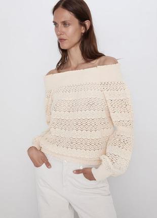 Стильная ажурная блуза от zara размер s