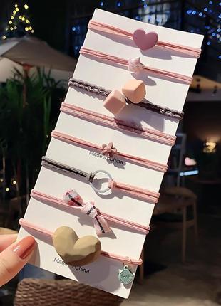 Набор из 8 резинок сердце кубики цветы бантик / большая распродажа!