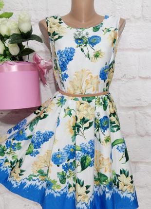 Платье миди фактурное коттоновое пышная юбка р 14 yumi