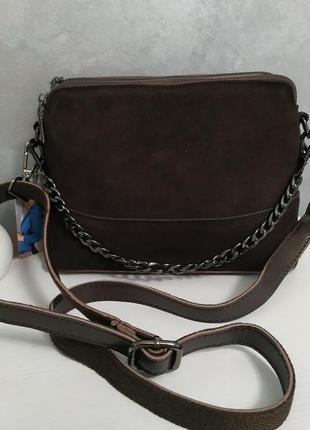 Вместительная сумка через плечо (кожа+замша)
