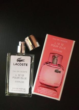 Духи парфюм парфюмированный спрей l.12.12 pour elle sparkling от lacoste тестер 60мл