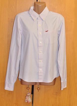 Розовая котоновая рубашка в полоску s/m hollister