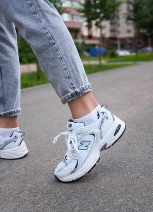 New balance 530 white белые женские кроссовки наложенный платёж купить9 фото
