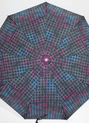 Зонт полуавтомат в 3 сложения с яркой ручкой. парасоля напів автомат