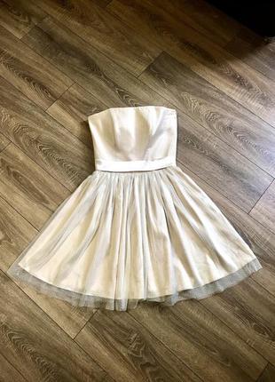 Платье пышное с кружевом выпускное свадебное вечернее цвет шампань шелковое