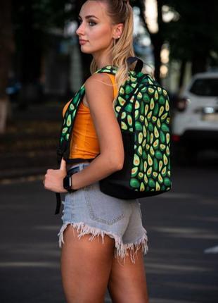 Рюкзак с принтом  авокадо портфель зеленый  сумка для учебы  ранец женский / мужской