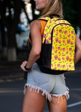 Рюкзак жёлтый с принтом instagram портфель  сумка для учебы ранец женский / мужской