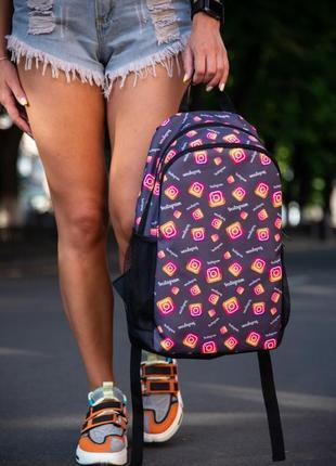 Рюкзак тёмно-серый с принтом instagram портфель сумка для учебы ранец женский / мужской