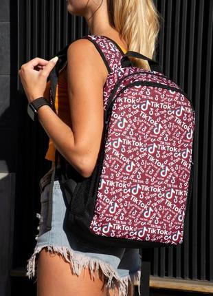 Рюкзак бордовый с принтом tiktok портфель тикток сумка для учебы ранец женский / мужской