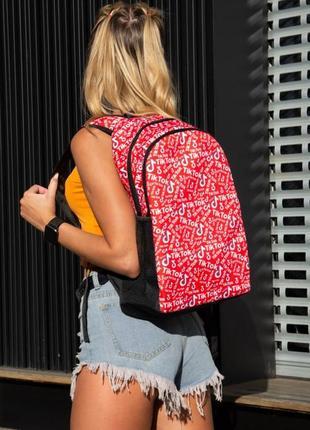 Рюкзак красный с принтом tiktok портфель тикток сумка для учебы ранец женский / мужской