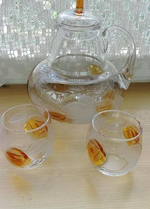 Цветное рельефное стекло блюдо поднос кувшин стакананы - раритет, прошлый век, ссср