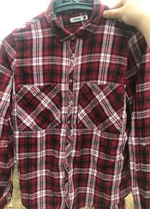 Шикарная красная рубашка в клетку❤️