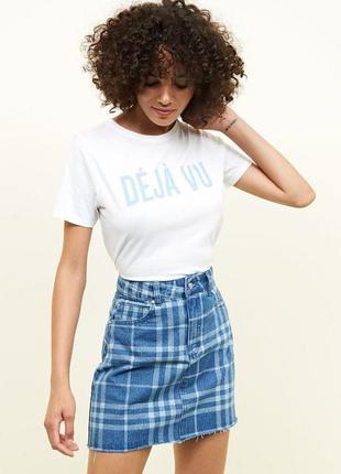 Новая джинсовая юбка нова джинсова спідниця з принтом і необроблем низом s/m