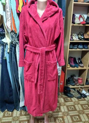 Махровый халат с капюшоном размер s