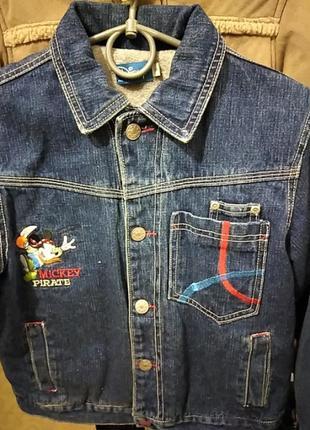 Джинсовый пиджак на флисе унисекс на 8 лет от disney