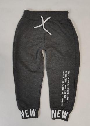 Детские модные штаны хлопковые для мальчика 1-4 года серые 5500-4