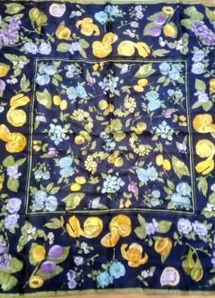 Винтажный шелковый платок фрукты   италия
