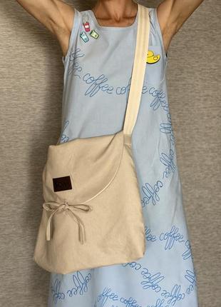 Эко сумка шоппер торба кросс боди owl бежевая на завязке
