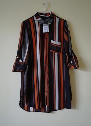 Актуальная удлиненная рубашка туника в полоску