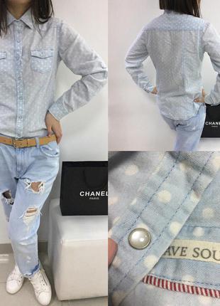 Крутая джинсовая рубашка в горошек brave soul