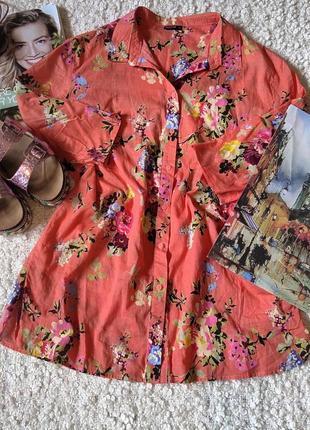 Котоновая рубашка в цветочный принт